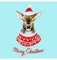 Watercolor christmas deer vector image