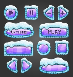 Winter cartoon lilac buttons with snow vector