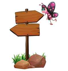 Arrowboards with a butterfly vector image vector image
