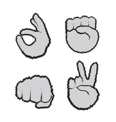 hand gestures set people emotion icon collection vector image