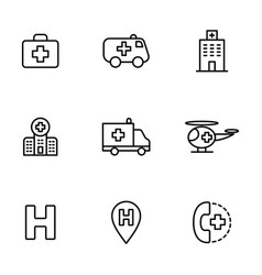hospital icons set on white background vector image