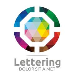 Lettering o rainbow alphabet design vector