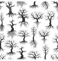 old tree silhouettes samless pattern tree with vector image vector image