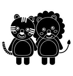 cute animals lion and tiger babies vector image vector image