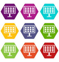 desktop of computer with folders icon set color vector image