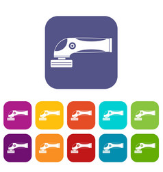 grinder machine icons set flat vector image vector image