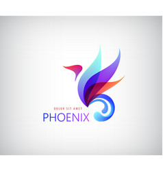Phoenix colorful brand animal logo hotel fashion vector image