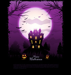 Purple halloween haunted house background vector