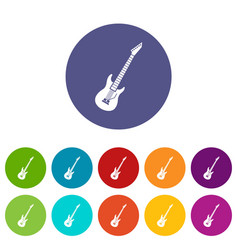 electric guitar set icons vector image vector image