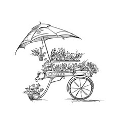 flower stall florist cart vector image vector image