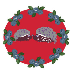 hedgehogs in lovecoloring book vector image