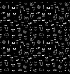 owl eyes and wings seamless pattern vector image vector image