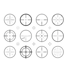 target sight sniper set of icons hunting rifle vector image