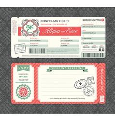 Vintage boarding pass ticket wedding invitation vector
