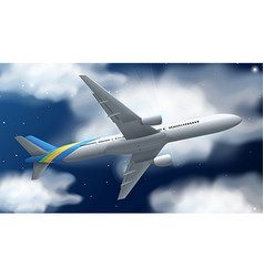 Airplane flying at night time vector image vector image