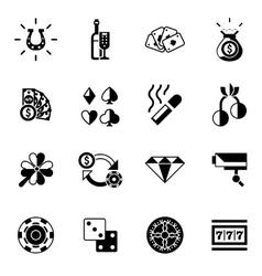 Casino Icons Black vector image vector image
