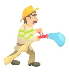 Extinguishing firefighter icon cartoon style vector