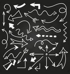 hand drawn arrows on chalkboard - doodle arrows vector image