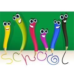 Happy cartoon pencils vector image