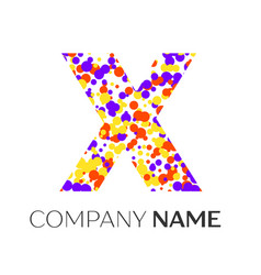 letter x logo with purple yellow red particles vector image vector image