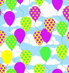 Seamless Pattern with Colorful Balloons on Sky vector image vector image