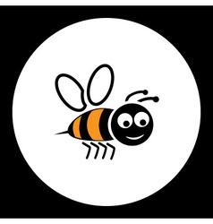 simple black smiling happy bee icon eps10 vector image vector image