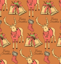 Sketch fancy reindeer in vintage style with bell vector image vector image
