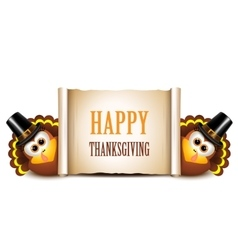 Thanksgiving Card Design Template Turkeys on a vector image vector image