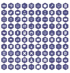 100 plan icons hexagon purple vector