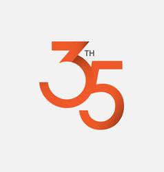 35 th anniversary template design vector