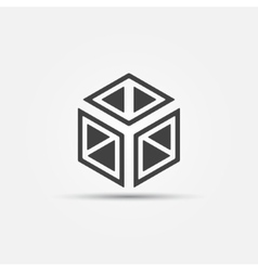 3D cube icon vector image