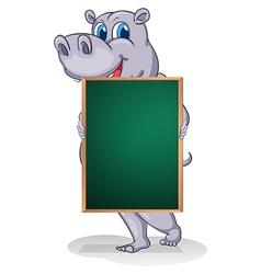 A hippopotamus holding an empty board vector