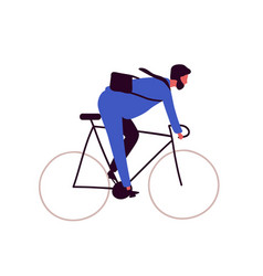 Active bearded businessman riding on bike isolated vector