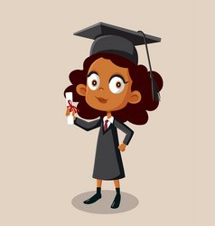 African girl graduating school holding diploma vector