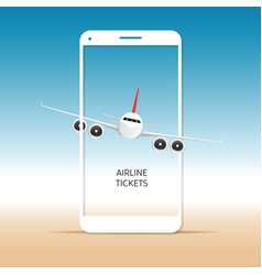 airplane on mobile phone vector image