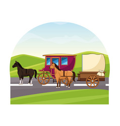 Antique horse carriages animal tractor vector