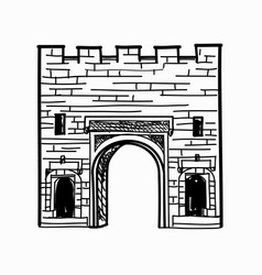 Arch gates in fortress wall castle doorway retro vector