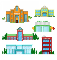 Architectural School Buildings Set vector