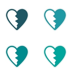 Assembly sticker bright heart broken into pieces vector