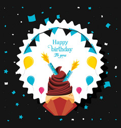 birthday cupcake with candles and balloons helium vector image
