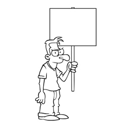 Black and white angry man with protest sign vector image