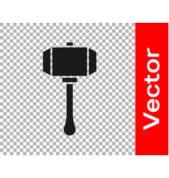 Black hammer icon isolated on transparent vector