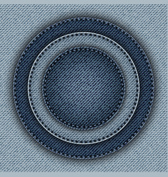 Blue denim circles with stitchers vector