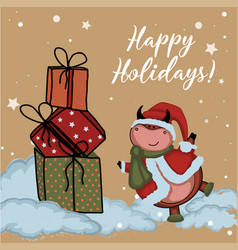bull is symbol 2021 happy holidays vector image