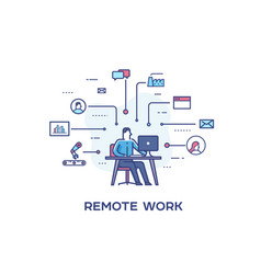 Business person working on computer vector