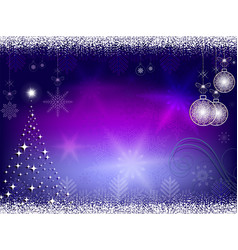Christmas blue purple background with balls vector