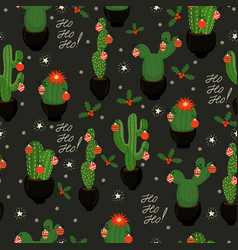 Christmas cacti new year seamless pattern eps 10 vector