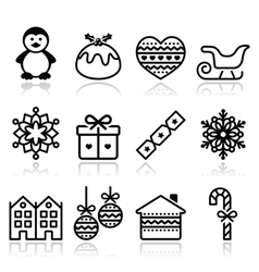 Christmas winter icons with stroke - penguin vector image