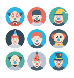 Clown characters flat icons vector