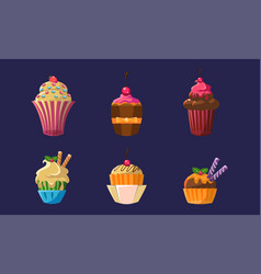 colorful delicious cupcakes set bright sweets vector image